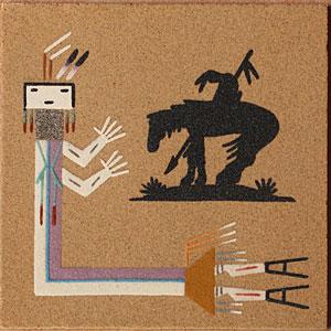 Peinture en sable Navajo représentant un Rainbow Yei Dancer et le symbole indien End of the Trail, oeuvre signée par l'artiste Johnson