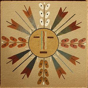 Peinture en sable Navajo, peinture hozo, représente le Soleil, un arc en ciel, les 4 saisons, tableau de l'artiste amérindien Navajo Yazzie