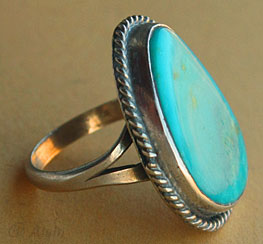 Navajo Indian Native American turquoise and sterling silver ring size 5