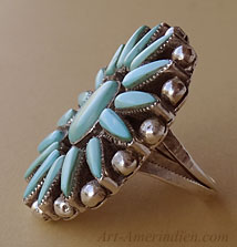 Navajo Indian Native American cluster ring, sterling silver and 17 petit points turquoises