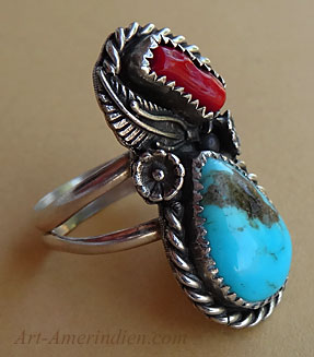 Navajo Indian sterling silver, turquoise and coral ring with sterling silver rope, cactus flower, feather