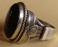 Bague Navajo South western country en argent et Onyx