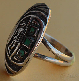 Indian native american navajo tribal ring, sterling silver and rough turquoise