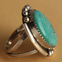 Navajo Indian sterling and turquoise ring hallmarked R by silversmith