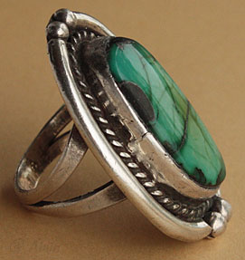Dead Pawn Navajo sterling and turquoise ethnic ring