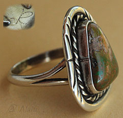 Indian Native american jewelry, this ring is made from sterling with a Royston bouder mine turquoise