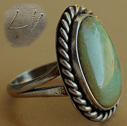 Green turquoise and sterling silver Navajo ring, old pawn Navajo jewelry