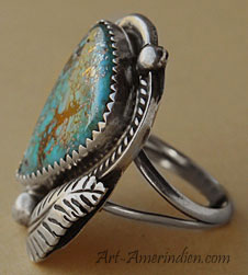 American Indian Native Navajo sterling silver and spiderweb turquoise ring hallmarked Robt Kelly.