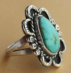 unsigned indian native american navajo sterling silver turquoise ring