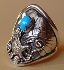 Indian Native American jewelry, sterling silver ring with Landing Eagle, turquoise, shell, drop