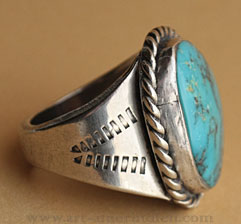 Indian native american navajo sterling silver and dark blue turquoise ring