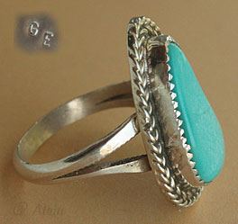 Navajo turquoise and sterling ethnic / tribal ring, hallmark GE