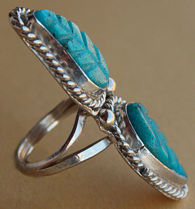 Zuni indian native ring with 2 engraved turquoises, silver rope and drops
