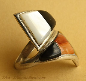 Zuni native american stones mosaic adjustable ring