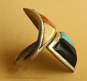 Zuni indian native american adjustable turquoise, jet, spiny oyster, MOP mosaic inlay ring