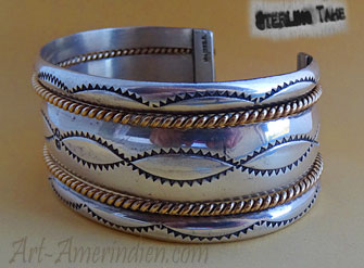 Vintage Navajo bracelet with 12 k gold filled ropes, hallmarked Tahe for Navajo silversmith Verna Tahe
