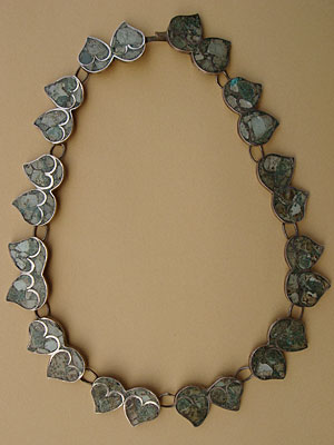 Aztec mexican necklace sterling silver and chrisocolla green stone inlayed