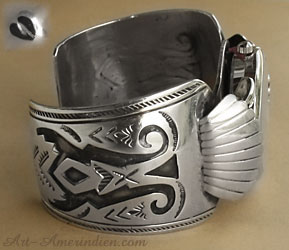 Navajo Indian native American sterling silver overlay watch cuff bracelet, hallmarked with deer paw