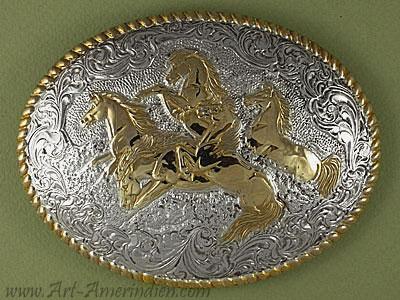 Boucles de ceinture américaines Western, argent, fabrication USA