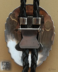RB Navajo native American hallmark on this sterling silver landing Eagle bolo tie,