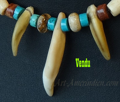 Indian choker necklace, bone beads, turquoise beads, coyote tooth and turtle claws