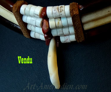 Indian ethnic tribal choker necklace, 4 rows of long bone beads, long horn beads, howlite beads, coyote tooth