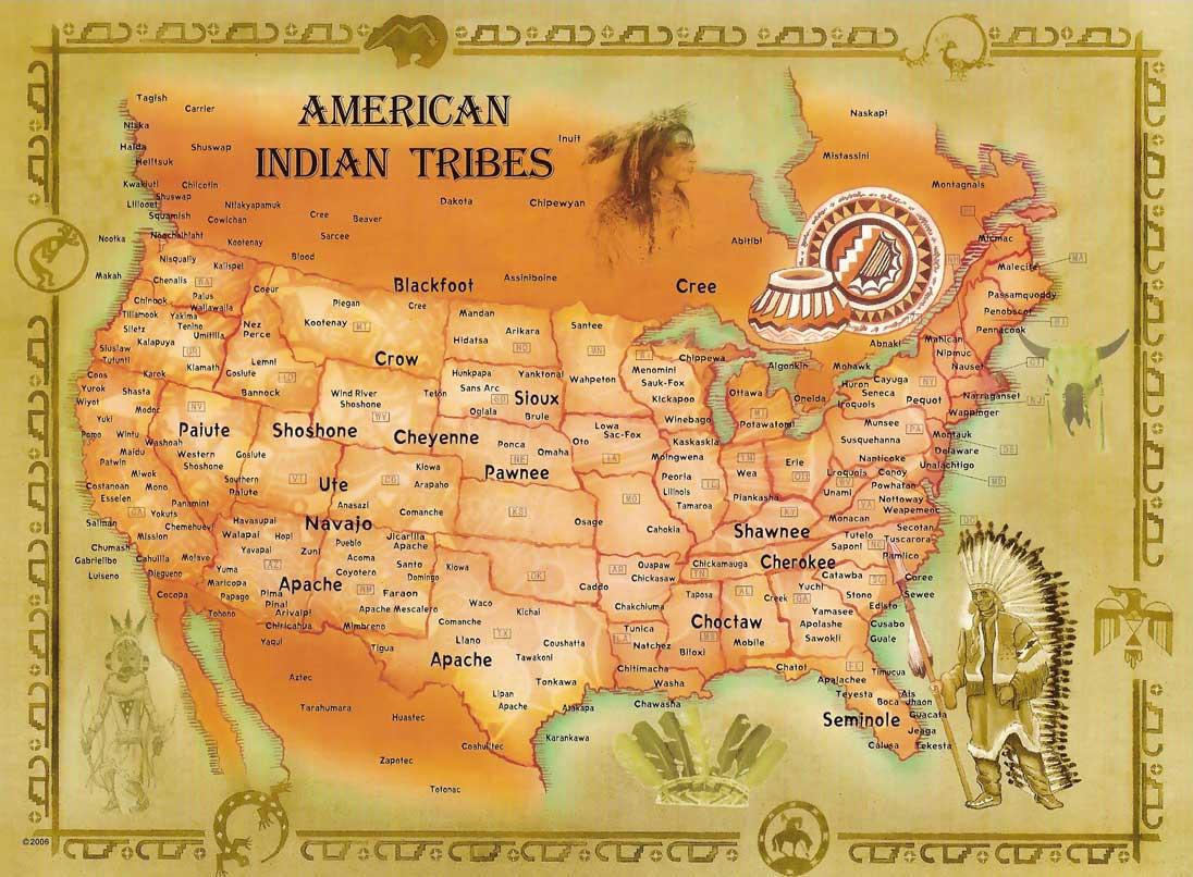 Tribu Indienne Carte.Localisation Des Differentes Tribus Amerindiennes Aux Usa