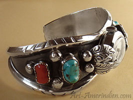 Native american Navajo cuff bracelet watch, sterling silver, coral, turquoise, genuine Indian Jewelry signed ML + bear foot
